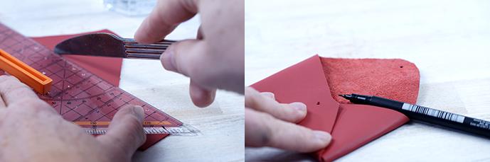 Ynas Design Blog | DIY | Visitenkartenetui aus Lederresten | Anleitung 3+4