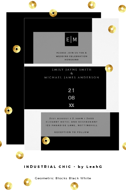 industrial chic wedding invitations