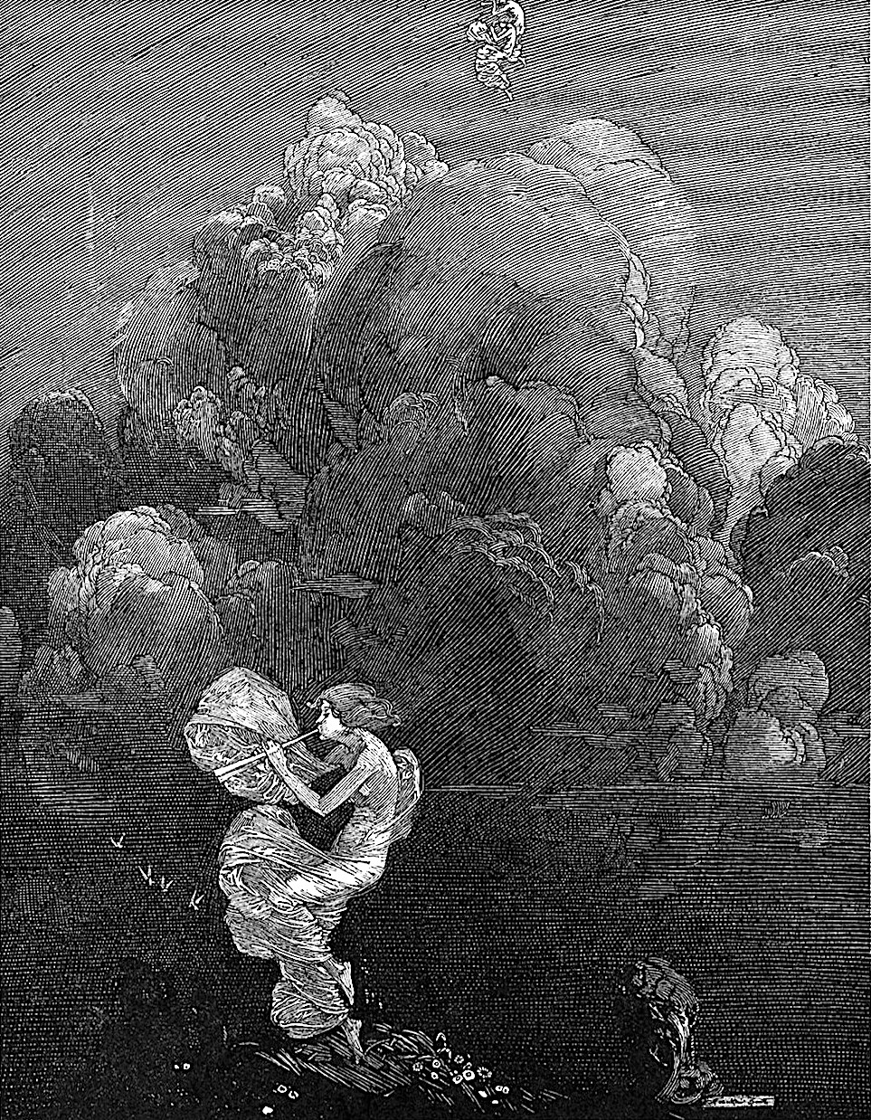 a Franklin Booth illustration of a gathering storm in the sky