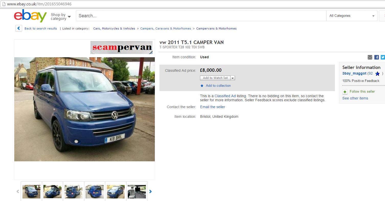Ebay scam k8brl vw t5 campervan 2011 k8 brl 27 aug 16