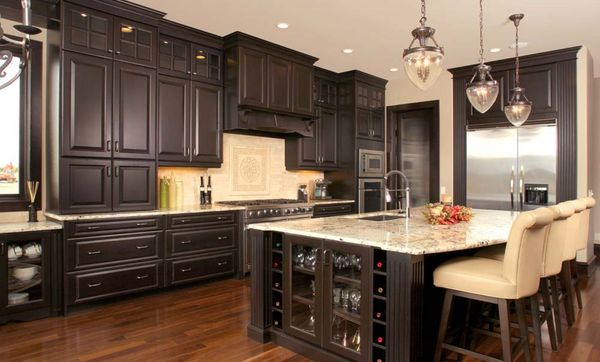 Cool Kitchen Blinds Idea Using Modern Design In Brown. Inspiration With Dark  Brown Kitchen Cabinets