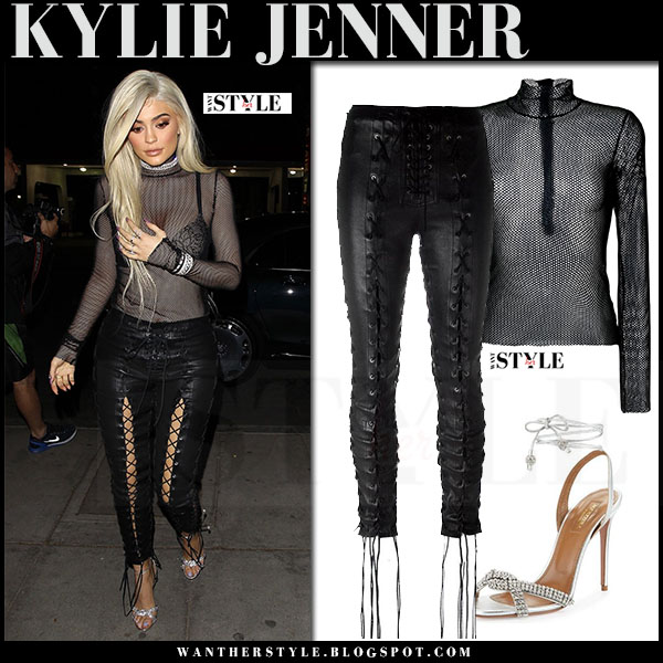 Kylie Jenner in sheer mesh black maison margiela top, black dkny bra and black leather pants unravel what she wore