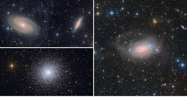 M81 and M82 - Bode's and Cigar Galaxies  (upper left),  M13 - Globular cluster in Hercules (lower left), and M63 - The Sunflower Galaxy in Canes Venatici (right). All image data acquired on ATEO-1 and processed by Utkarsh Mishra.