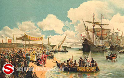 Gambar ilustrasi Armada dagang Portugis datang ke Indonesia