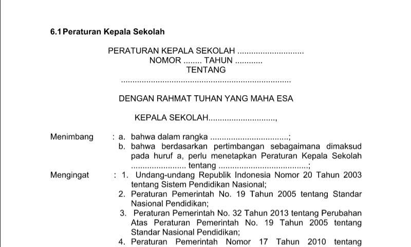 Peraturan Kepala Sekolah Contoh Format Administrasi Tata Usaha Sekolah(TU)