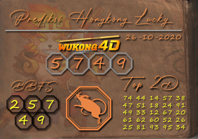 Prediksi Togel HONGKONG LUCKY 7 WUKONG4D 26 OKTOBER 2020
