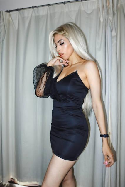 The Femme Luxe Black One Shoulder Organza Balloon Sleeve Mini Dress in model Shayne