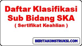 Daftar Klasifikasi Sub Bidang SKA