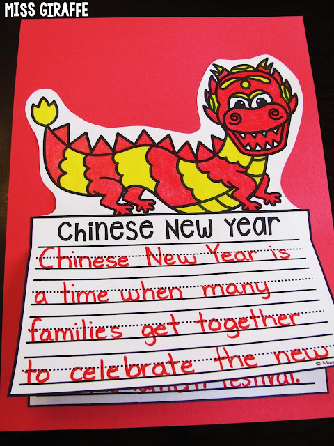 Chinese New Year craft for writing that's no prep! Kids just write, color, cut, and glue to make a beautiful bulletin board