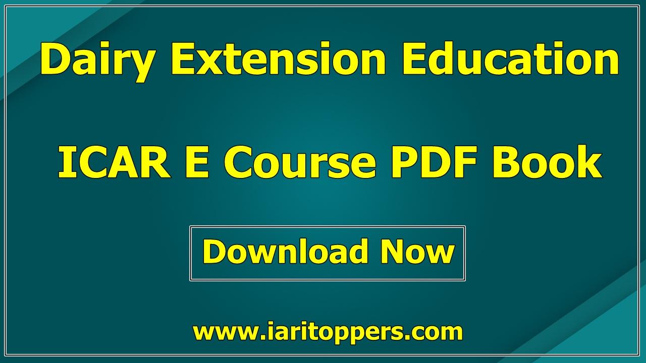 Dairy Extension Education ICAR e course PDF Book Download E Krishi Shiksha
