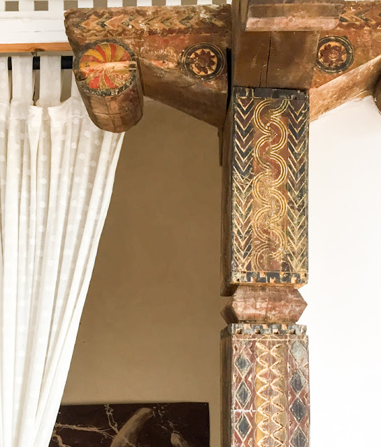 Carved wooden post Moroccan interior design