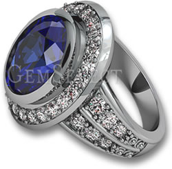Blue Sapphire Ring with Diamond Halo