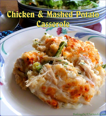 Chicken and Mashed Potato Casserole, choose your poultry, vegetable and cheese, sandwiched between layers of mashed potato.| Recipe developed by www.BakingInATornado.com | #recipe #dinner