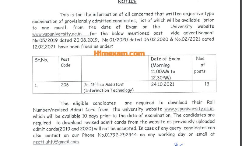Dr.YSP University Nauni JOA IT Exam Date 2021