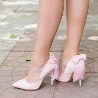 Pantofi dama Pony roz cu toc si franjuri • modlet