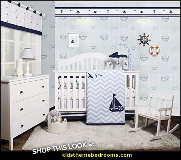 Baby Nautical Explorer Sailor Baby Nursery Crib Bedding Set  nautical baby bedroom decorating ideas - nautical nursery decor - nautical baby room accessories - nautical nursery bedding - girls nautical nursery - boys nautical nursery - nautical rugs - anchor nursery decor - ship wheel decor - nautical nursery wall decals