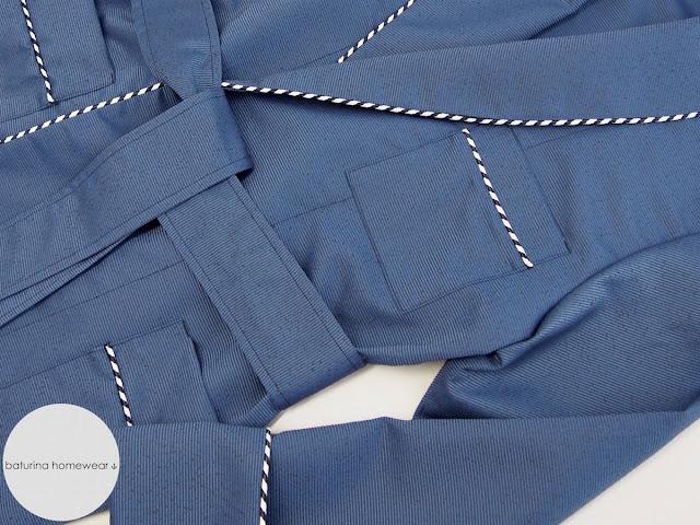 Luxury blue silk dressing gown striped trimmed night robe.