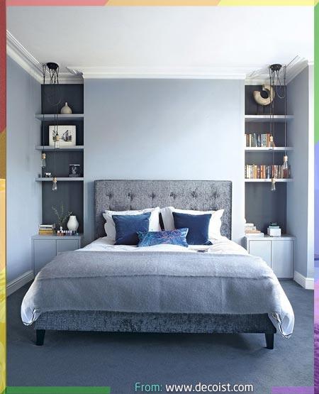 غرف نوم انيقة باللون ازرق رمادي