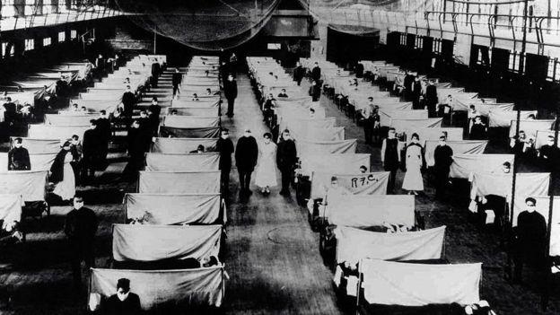 Kampanye rumah sakit ketika terjadi pandemi flu Spanyol (Getty Image)