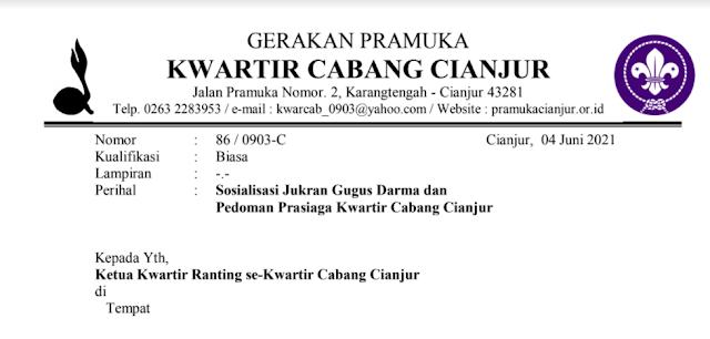 Edaran Sosialisasi Jukran Gugus Darma dan Pedoman Prasiaga Kwarcab Cianjur