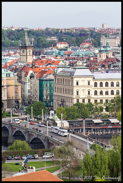 DPP Tram Crossing The Mánesův Most in Prague