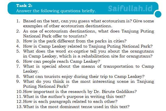 Kunci Jawaban Soal Bahas Inggris Chapter 4 Task 2 Halaman 54