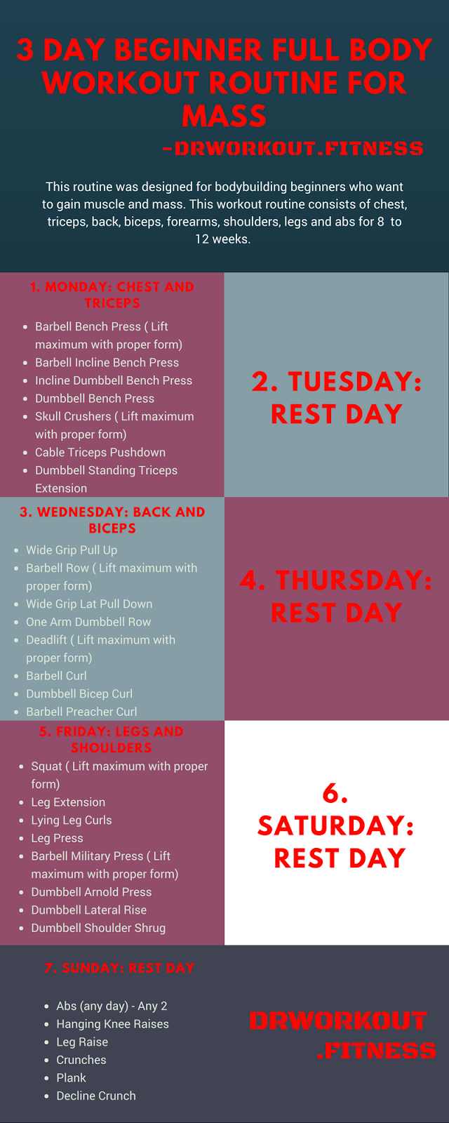 3 Day Beginner Full Body Workout Routine For Mass