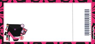 Tarjeta con forma de Ticket de Fiesta de Maquillaje.