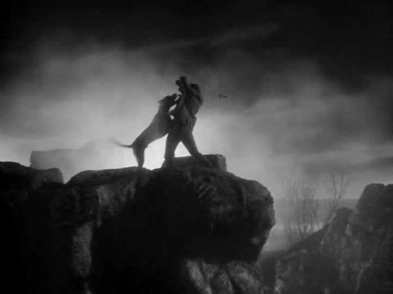 The Hound of the Baskervilles (1939)<br>A terrible scream—a prolonged yell of horror and anguish — burst out of the silence of the moor. That frightful cry turned the blood to ice in my veins.