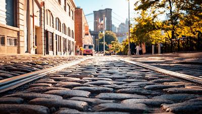 Preciosa calle con piedras en el suelo, arboles y un puente