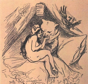 1893 political cartoon depicting the Franco-Russian Alliance. Marianne and the Russian bear embrace - Russophilia