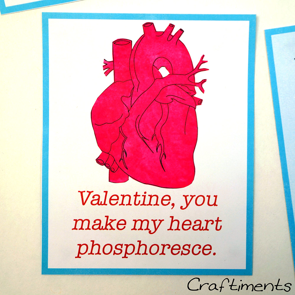 Craftiments:  Chemistry valentine, you make my heart phosphoresce