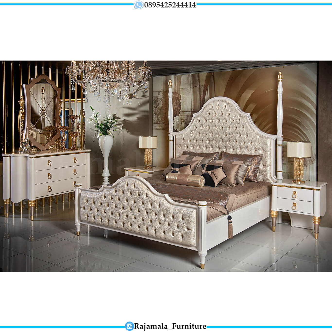 Jual Kamar Set Mewah Putih Duco Glossy Luxury Bedroom Set Design RM-0454