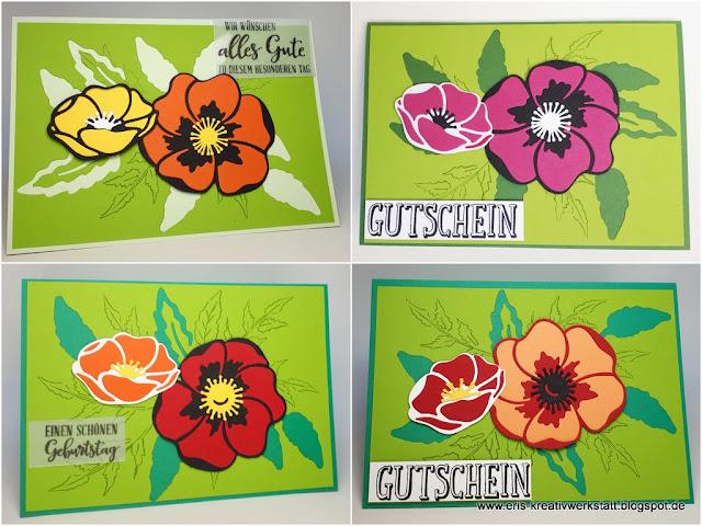 Mohnblüten-Karten mit Nutzung des Stanzteil-Negativs Stampin' Up! www.eris-kreativwerkstatt.blogspot.de