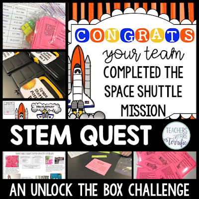 STEM Quest - Kids solve puzzles and follow clues using Space Shuttle information. Clues to lead to lock codes and they unlock the box to reveal the next task!
