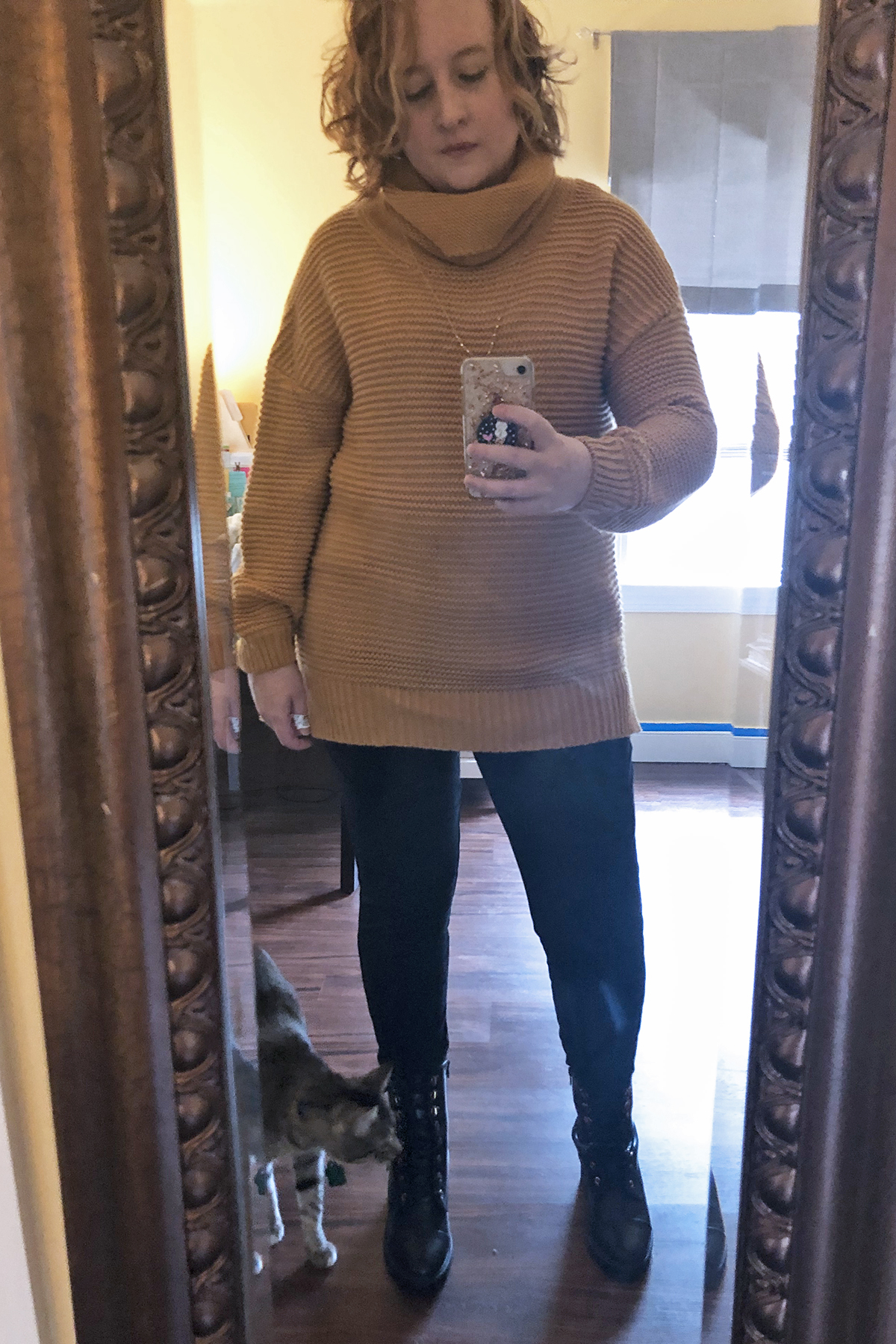 chunky sweater leggings combat boots