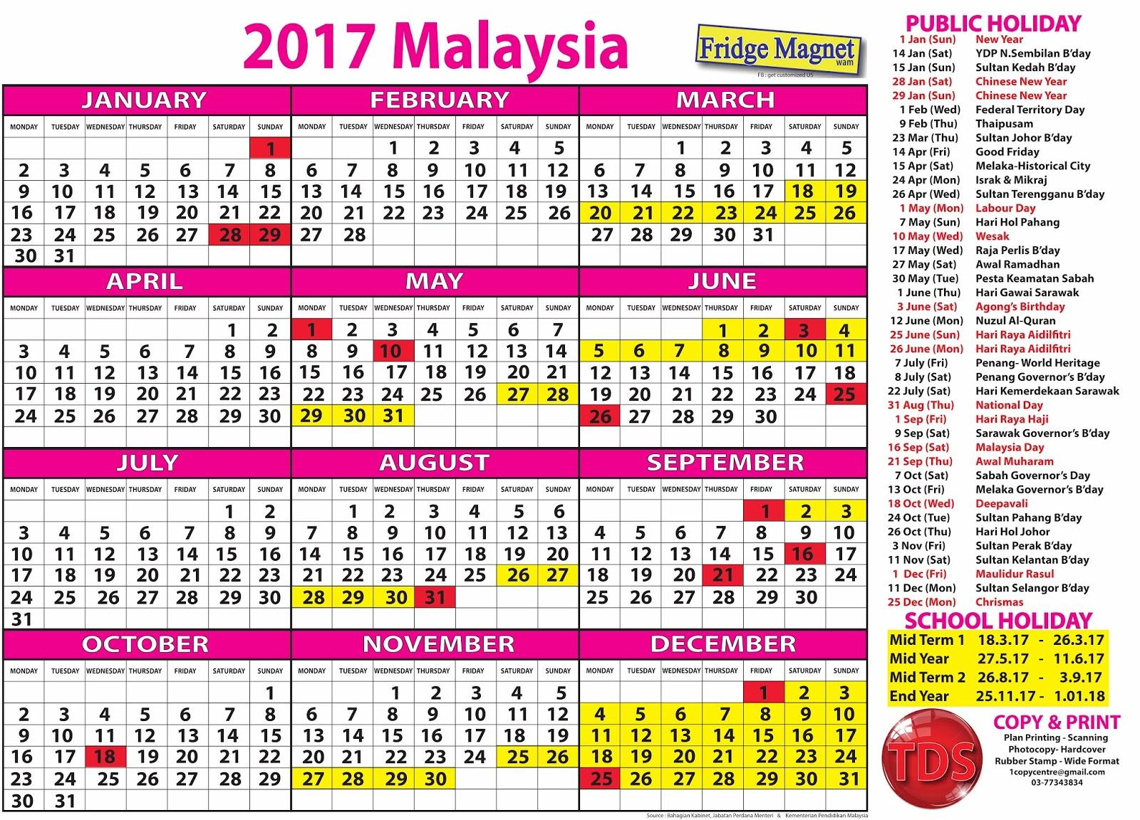 Malaysia 2016 2017 Holiday
