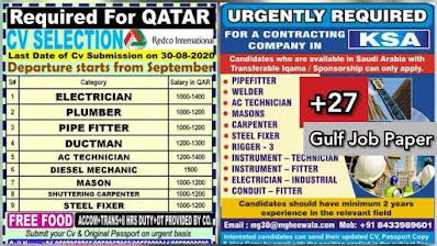 Gulf Overseas Jobs~12 August