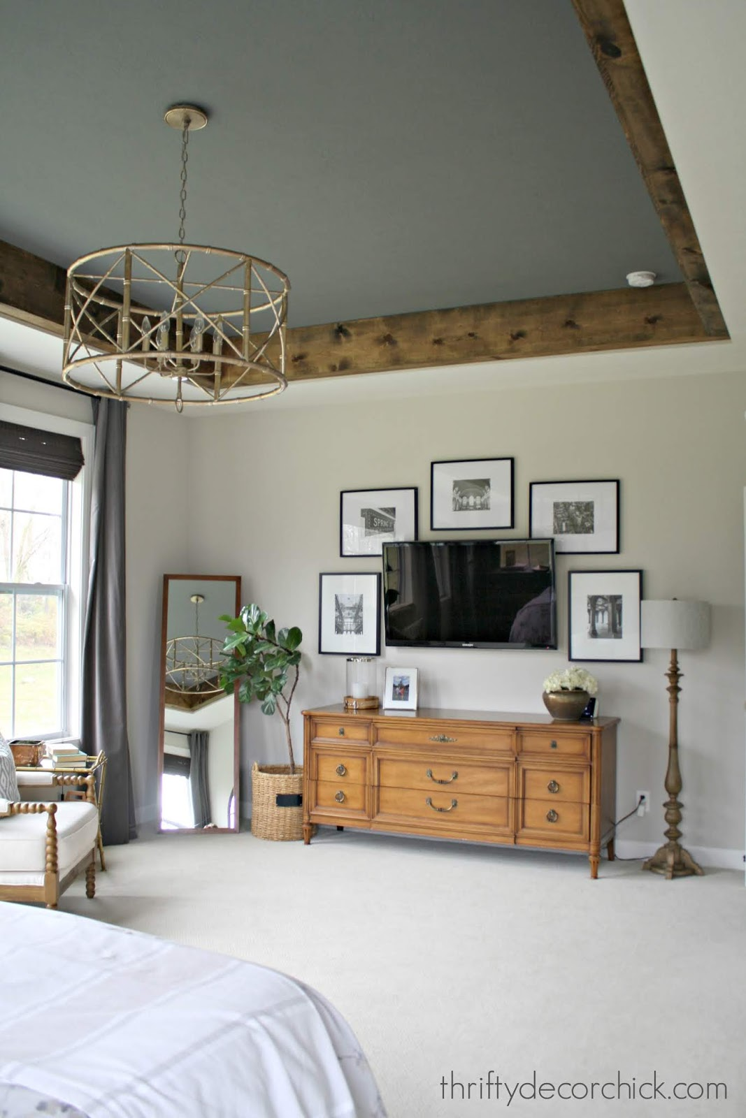 wood beams tray ceiling bedroom