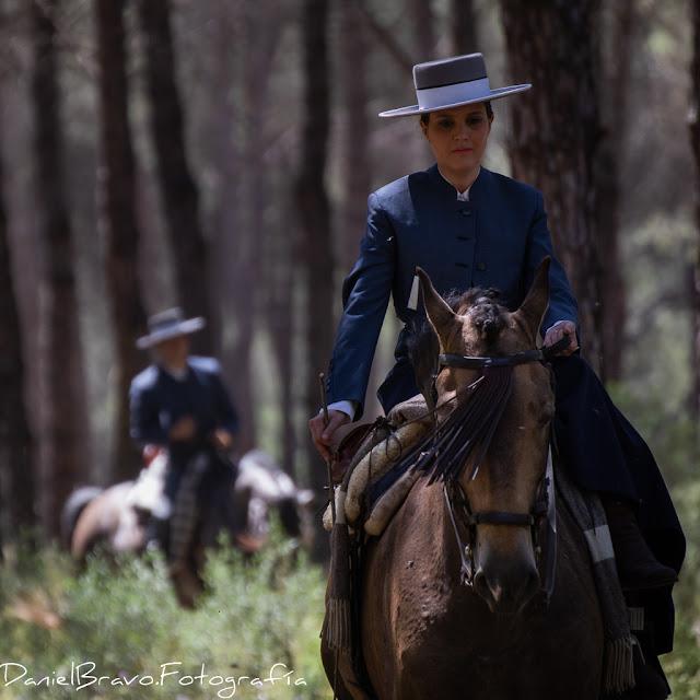 Dos jinetes, una mujer sobre caballo de pura raza española marrón, en primer termino, y al fondo, desenfocado, su marido sobre caballo blanco, en bosque del Parque Nacional de Doñana