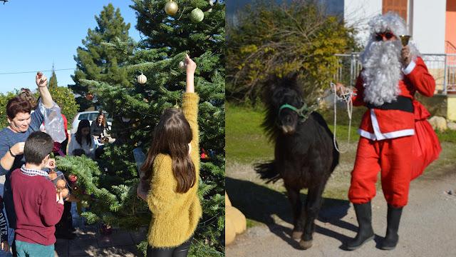 Μικροί και μεγάλοι στόλισαν το Χριστουγεννιάτικο δέντρο στο Κουρτάκι - Ήταν και ο Άγιος Βασίλης με το μικρό του Πόνυ