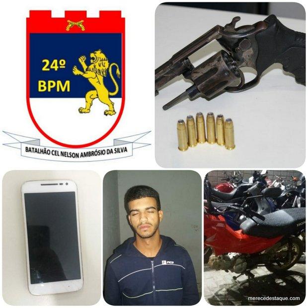 Perseguição policial resulta em um elemento detido e uma arma de fogo apreendida