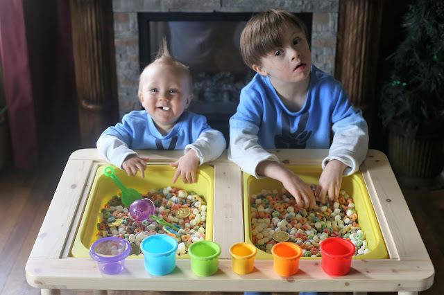 Snack and Play Edible Rainbow Sensory Bin