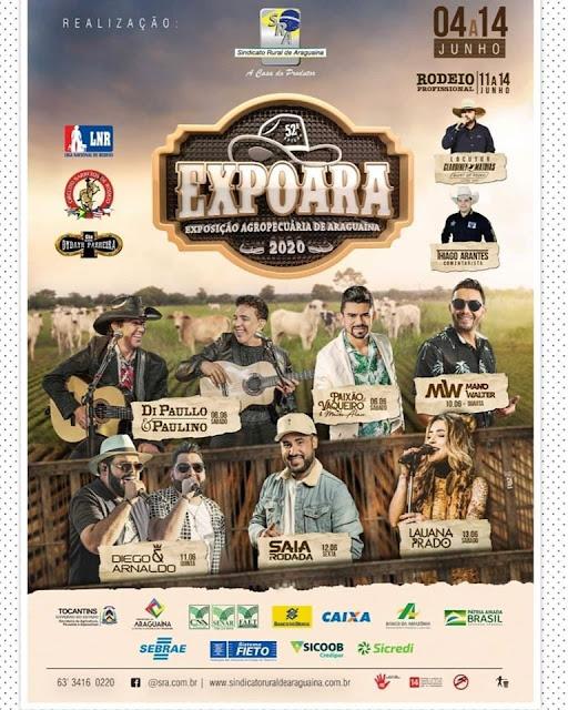 programação da expoara 2020 de araguaína