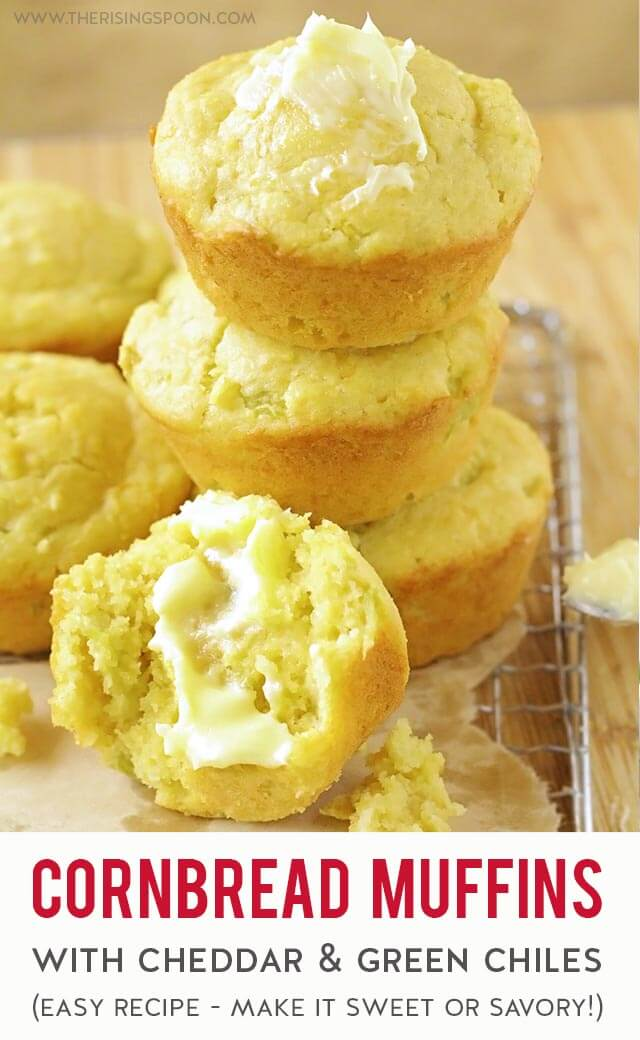 A quick & easy recipe for cornbread muffins using a homemade cornbread mix you can stir together in minutes with simple pantry ingredients. Keep it savory with simple add-ins like shredded cheese and canned green chiles or make a Southern-style cornbread by adding in honey or sugar for a bit of sweetness.