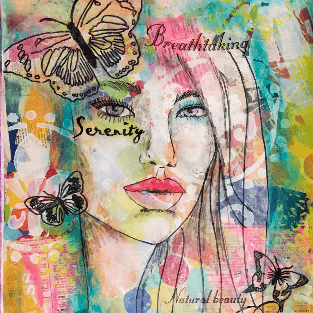 image of colorful mixed media art with a beautiful girl and butterflies