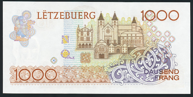 Luxembourg banknotes money 1000 Francs banknote bill