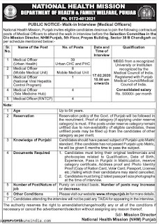 National Health Mission NHM Punjab Medical Officer Recruitment 2020 56 Govt Jobs Walk in Interview