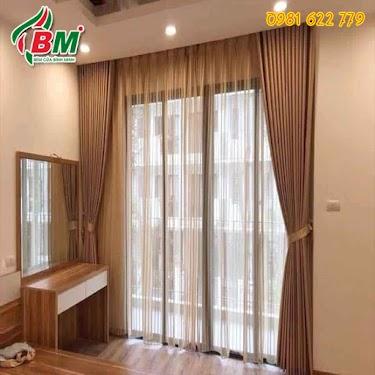Rèm vải 2 lớp cao cấp màu vàng đồng sang trọng nhẹ nhàng cho phòng khách và phòng ngủ..công trình tại đồng xoài..0981.622.779