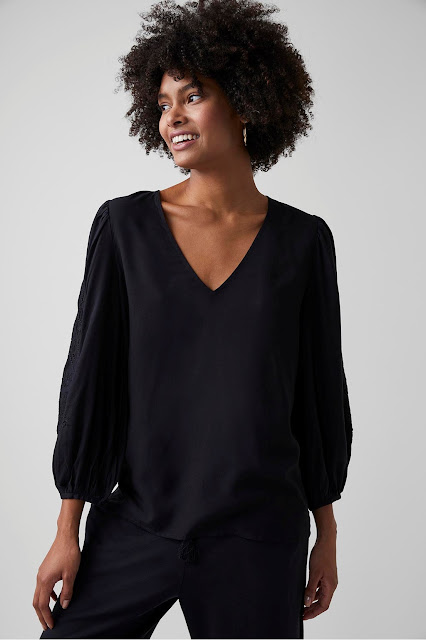 my midlife fashion, Great Plains abbey embroidery v neck top